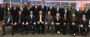 Dr. Jonathan Scott (seated, fourth from left), Managing Director of Owl Fund, and Jon Beaulieu (seated, fifth from left), senior Finance major, work closely with Fox Fund students to understand the fundamentals of investing.