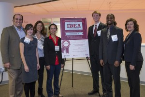 Innovation and Entrepreneurship Institute Managing Director Rob McNamee (far left) and Executive Director Ellen Weber (far right), with the Innovative Idea Competition finalists Bethany Edwards, Cecilia Scimia, Yasmine Mustafa, Bradley Blosser and Sean Webster.