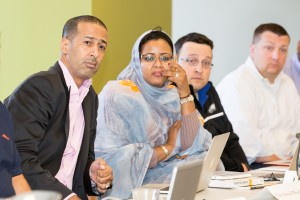 Husband and wife Tah Meouloud and Leila Bouamatou, who are part of the first cohort of Fox School's Executive Doctorate of Business Administration program, listen to instruction during their second residency. (Temple University)