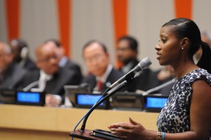 Youth advocate and Fox School alumna Jamira Burley speaks at a 2013 Global Education First Initiative event at United Nations Headquarters. Burley recently accepted a position with Amnesty International USA. (Courtesy: UNICEF)