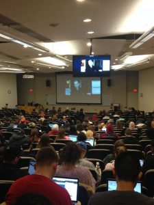Photo of students viewing the Legal Studies WebEx session with CNN.