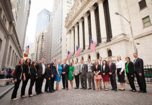 Photo of Fox School of Business and TD Ameritrade representatives on Wall Street.