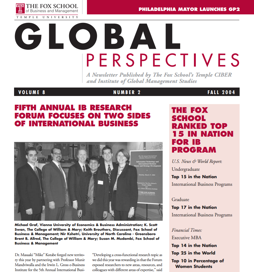 Global Perspectives Newsletter | Fox School of Business