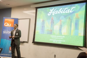 Recent Fox School graduate Andrew Nakkache pitches his company, Habitat, at College Pitch Philly. (Brian Green, Campus Philly)