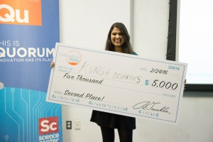 Fox School undergraduate Neha Raman wins second place at College Pitch Philly for her company, Rungh, a create-your-own nail polish system. (Brian Green, Campus Philly)