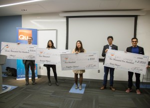 Fox School alumnus Andrew Nakkache, far left, and undergraduate student Neha Raman, second from left, won first and second place, respectively, at College Pitch Philly. (Brian Green, Campus Philly)