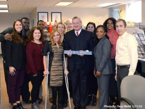 Sheila Hess, third from left, Mayor Jim Kenney and members of the Office of the City Representative recognize Hess at her welcome party. (Courtesy Sheila Hess)