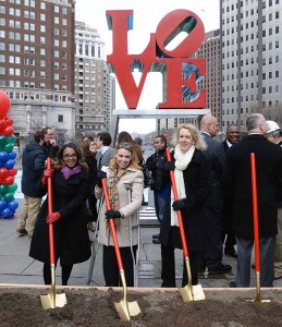 Sheila Hess, second from left, joins representatives from the Mayor's Office and City Hall at the Love Park groundbreaking ceremony (Courtesy Sheila Hess)