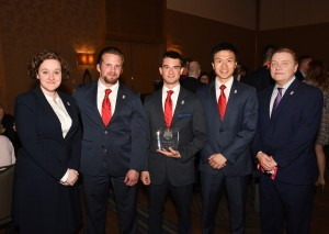 The winning team from Temple University's Fox School of Business featured Carolyn Murset, Andrew Donchez, Sean Preis, and Zilong Zhao. They are joined by Dr. R.B. Drennan, Chair of Fox's Risk, Insurance, and Healthcare Management department.
