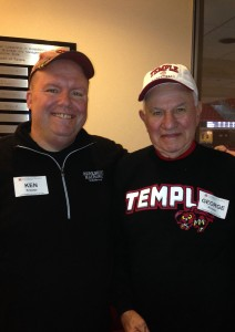 George Krauter, FOX '57, who earned a BS in Business Administration, attended a recent Temple men's basketball game against Tulsa with son Ken, EDU '89.