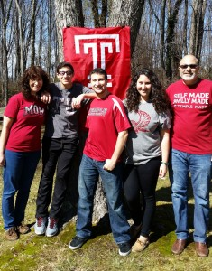For Samuel Domsky, FOX '83, at far right, Temple is a family affair. Domsky, who earned his BBA in Accounting, and his wife Andrea, at far left, have three children, including two Temple alums: Aaron; Alex, CST '13, at center; and Sara, STHM '15, second from right.