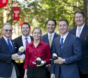 Fox School of Business students Maria Blaszczyk and Elliot Astor  (front) received Elevate 2015 Aflac Intern scholarships from the insurance company. Congratulating them are, back row from left: Fox School Dean M. Moshe Porat; Aflac District Coordinator Matthew O'Hanlon; Aflac Market Director Matthew Berger; and Aflac Regional Coordinator Eric MacDougall.