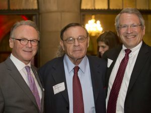 Fox School Dean Dr. M. Moshe Porat, left, and Temple University President Dr. Neil D. Theobald, right, meet with William A. Graham, the recipient of the 2015 Musser Award for Excellence in Leadership.