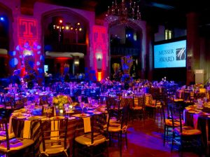 Uplighting at Mitten Hall's Great Court sets the stage for the 2015 Musser Award reception.