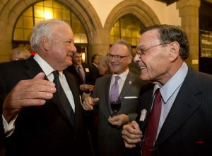Temple University Board of Trustees chairman Patrick J. O'Connor, left, congratulates William A. Graham, CEO of The Graham Company, during the 2015 Musser Award reception.