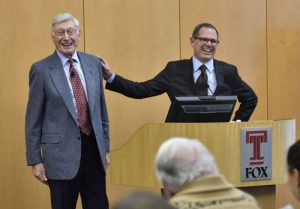 Paul Silberberg, right, an adjunct faculty member of the Fox School of Business, introduces Bernie Marcus, co-founder and former CEO of The Home Depot, before Marcus' Feb. 9 lecture at Alter Hall.