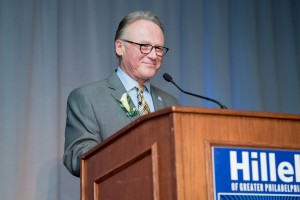 Photo of Dean M. Moshe Porat delivers remarks after being honored at the Hillel of Greater Philadelphia's Vision and Values celebration.