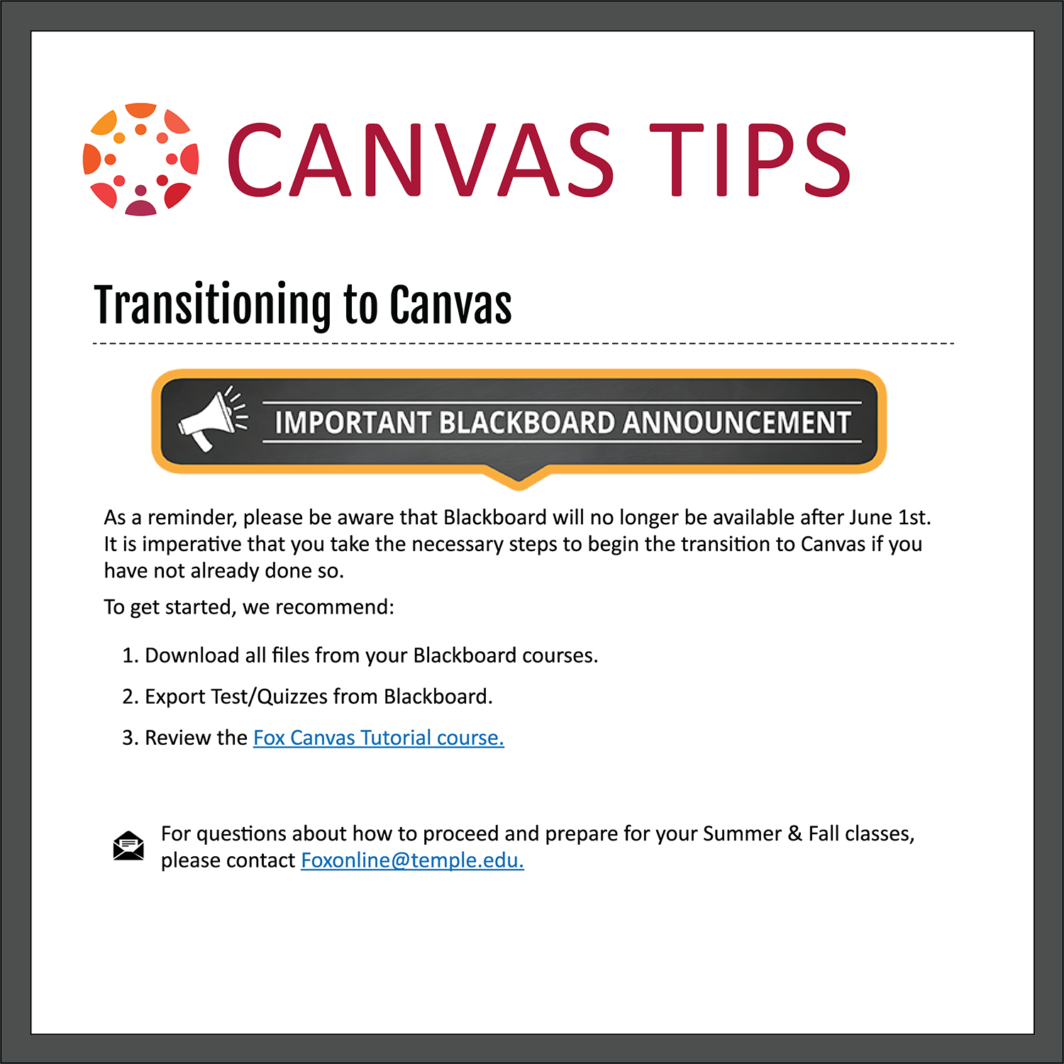Tip 1: Transitioning to Canvas