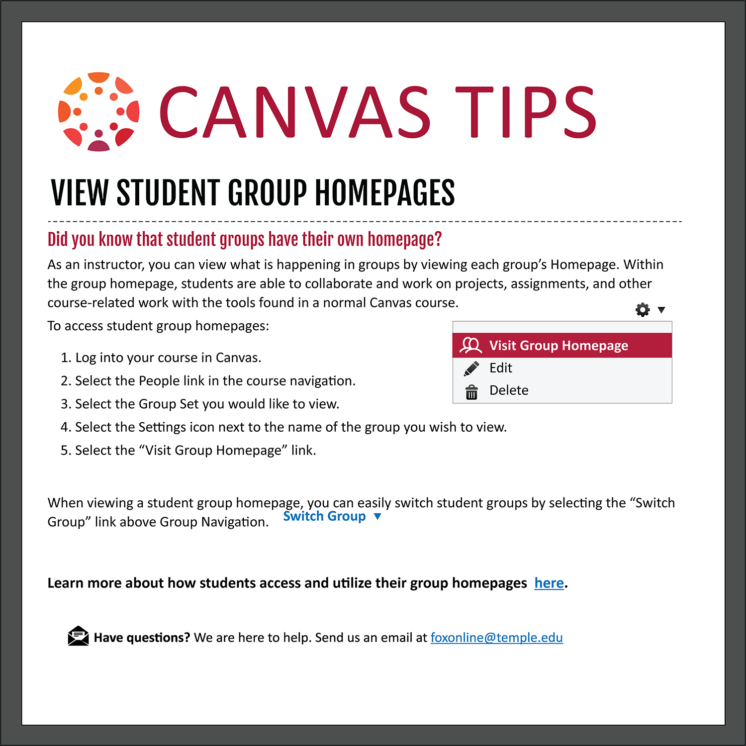 Tip 11: View Student Group Homepages