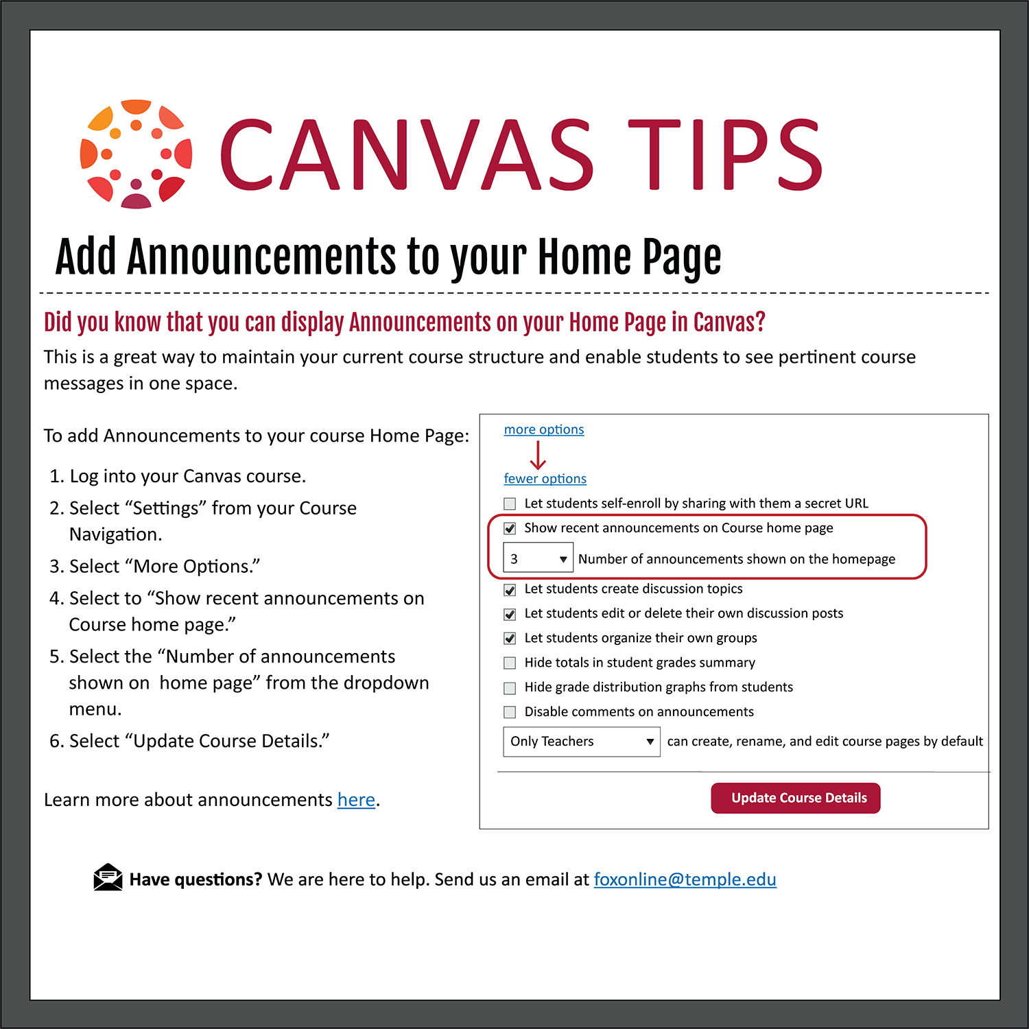 Tip 14: Add Announcements to Your Homepage