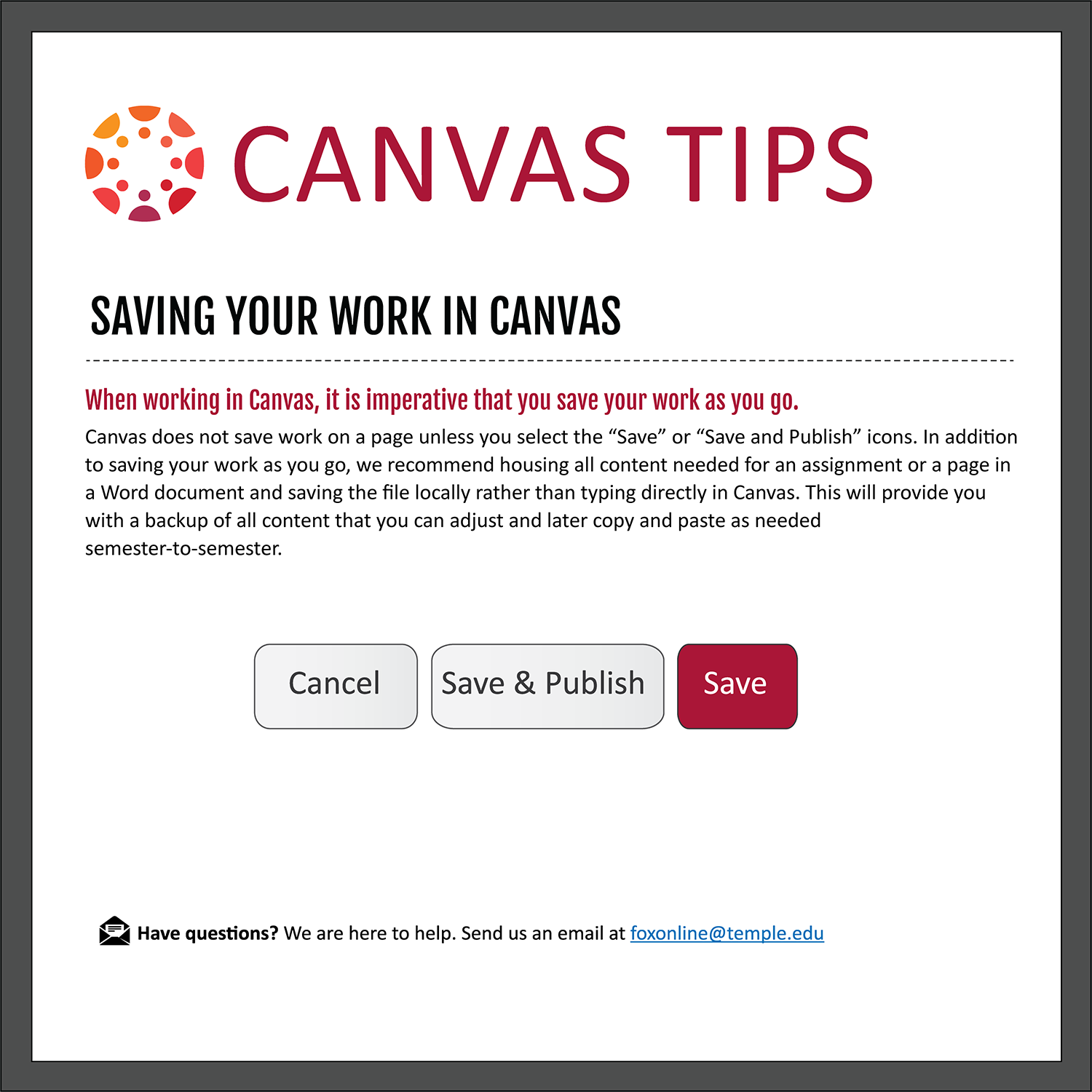 Tip 15: Saving Your Work in Canvas
