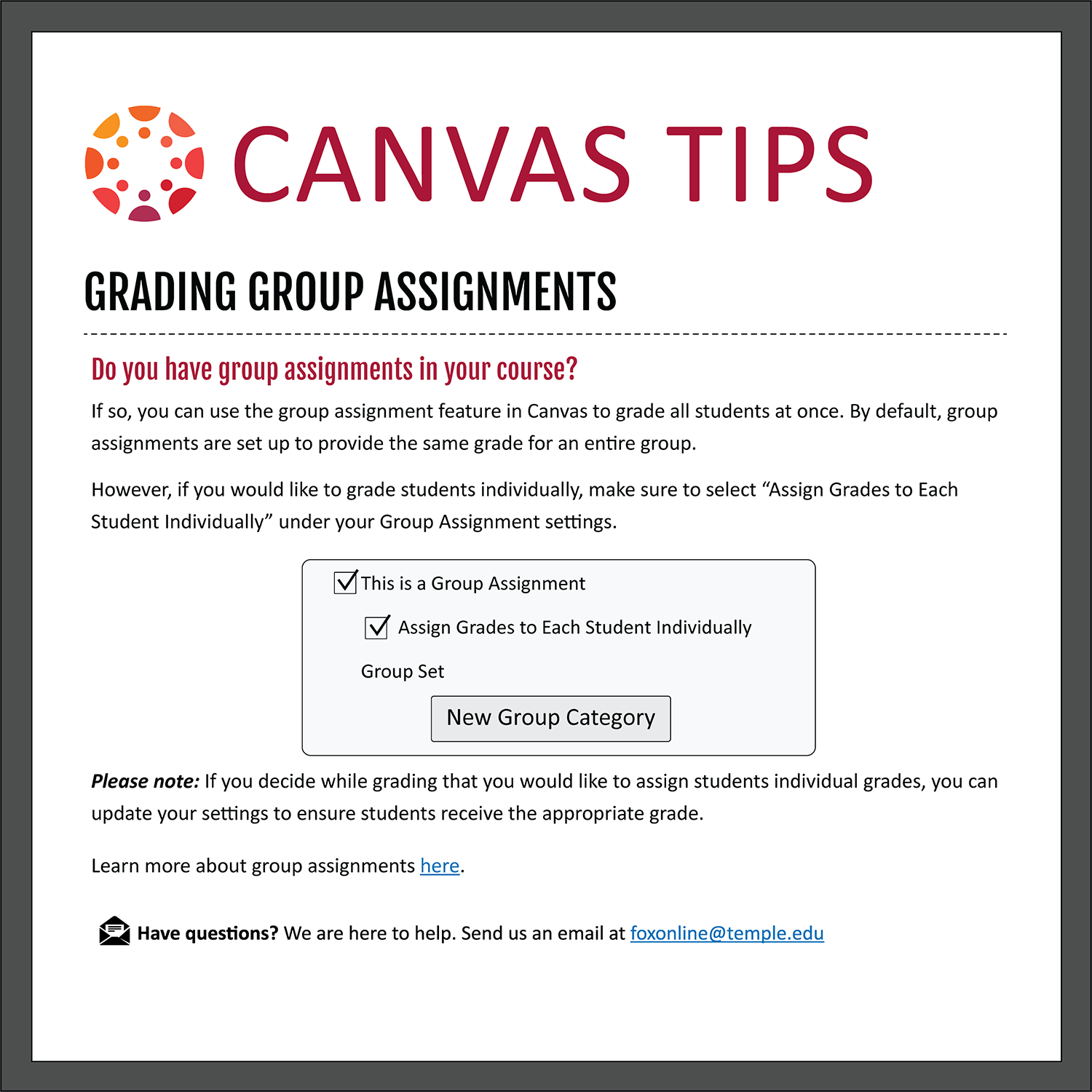 Tip 16: Grading Group Assignments