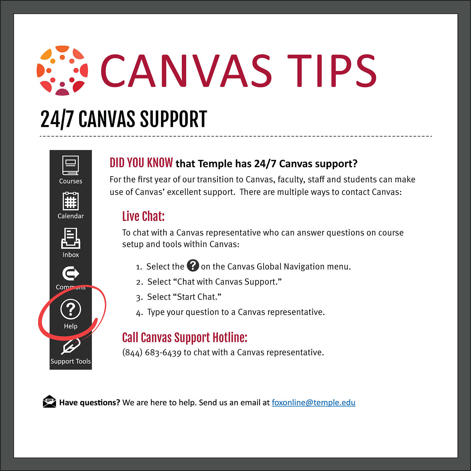 Tip 2: 24/7 Canvas Support