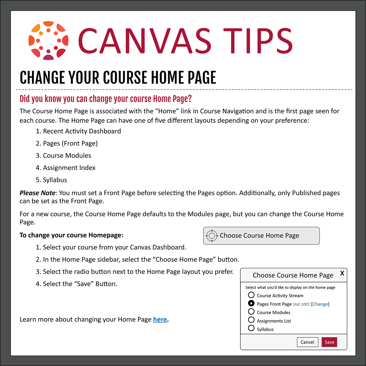 Tip 24: Change Your Course Homepage
