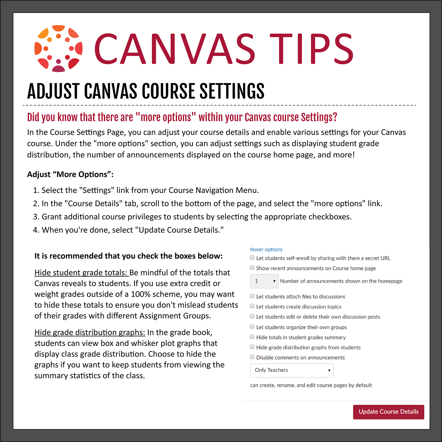 Tip 32: Adjust Canvas Course Settings