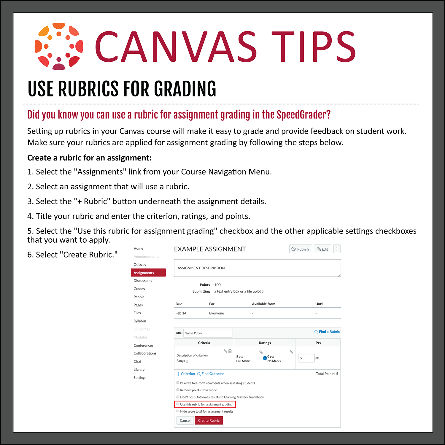 Tip 34: Use Rubric for Grading