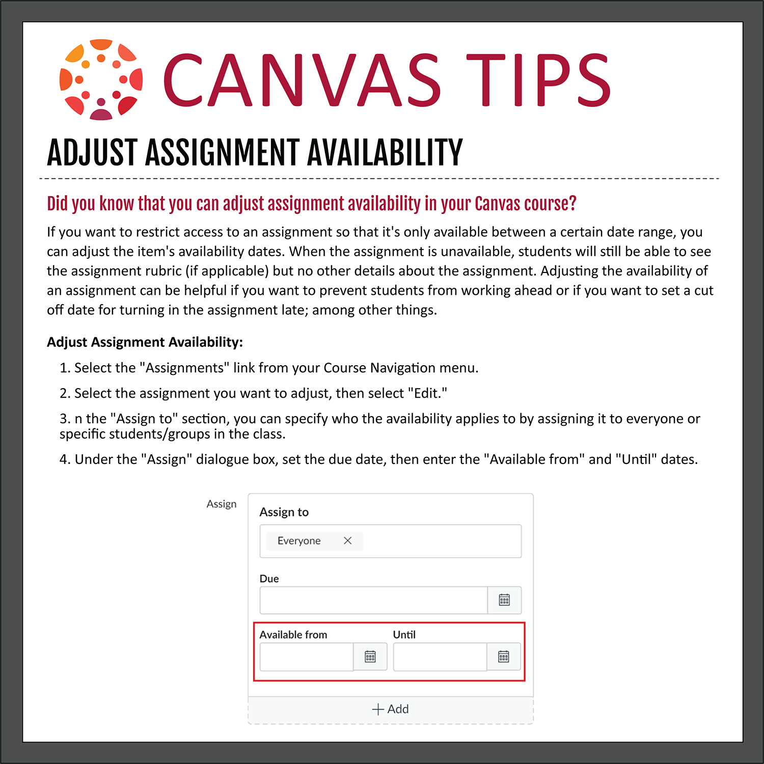 Tip 35: Adjust Assignment Availability