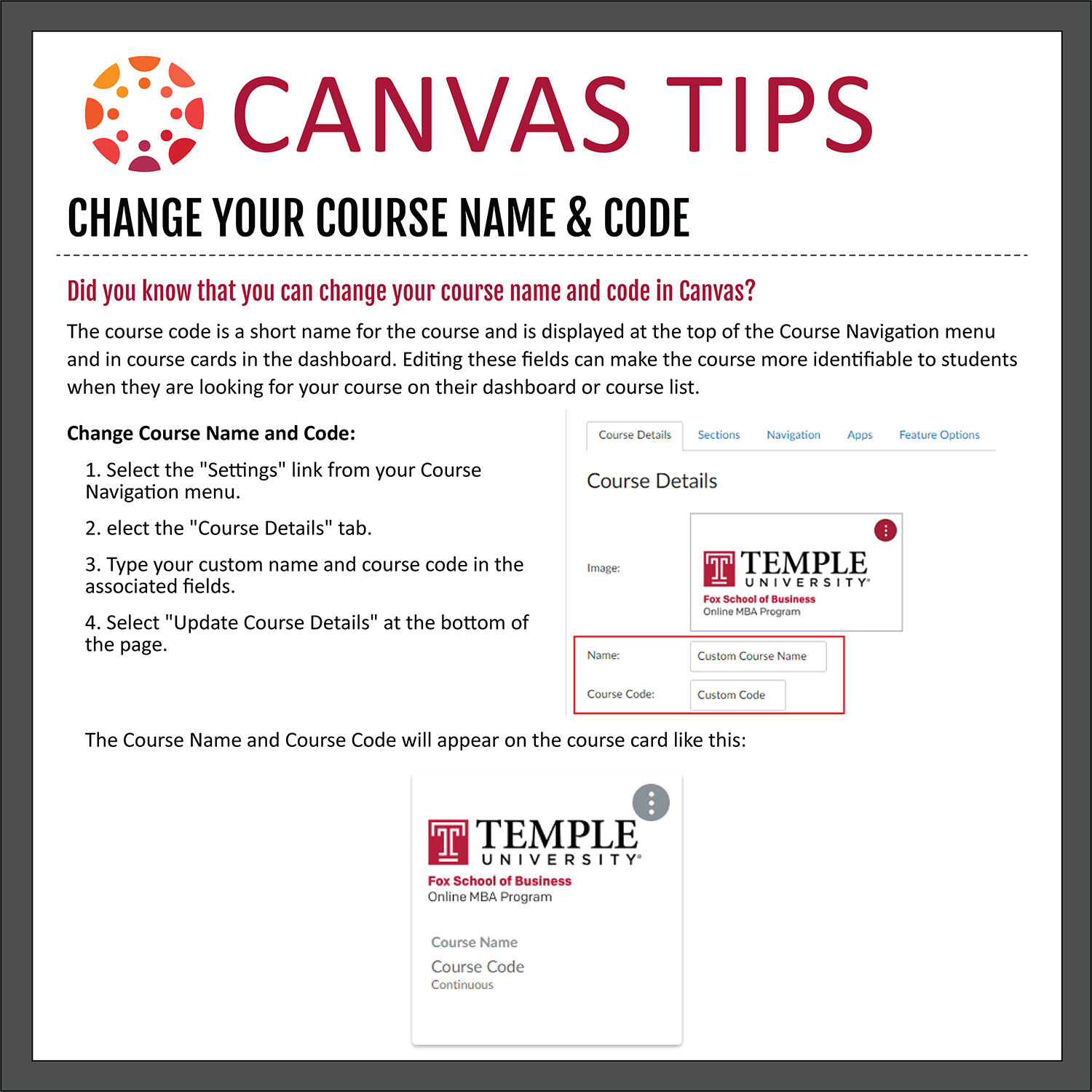 Tip 37: Change Your Course Name & Code