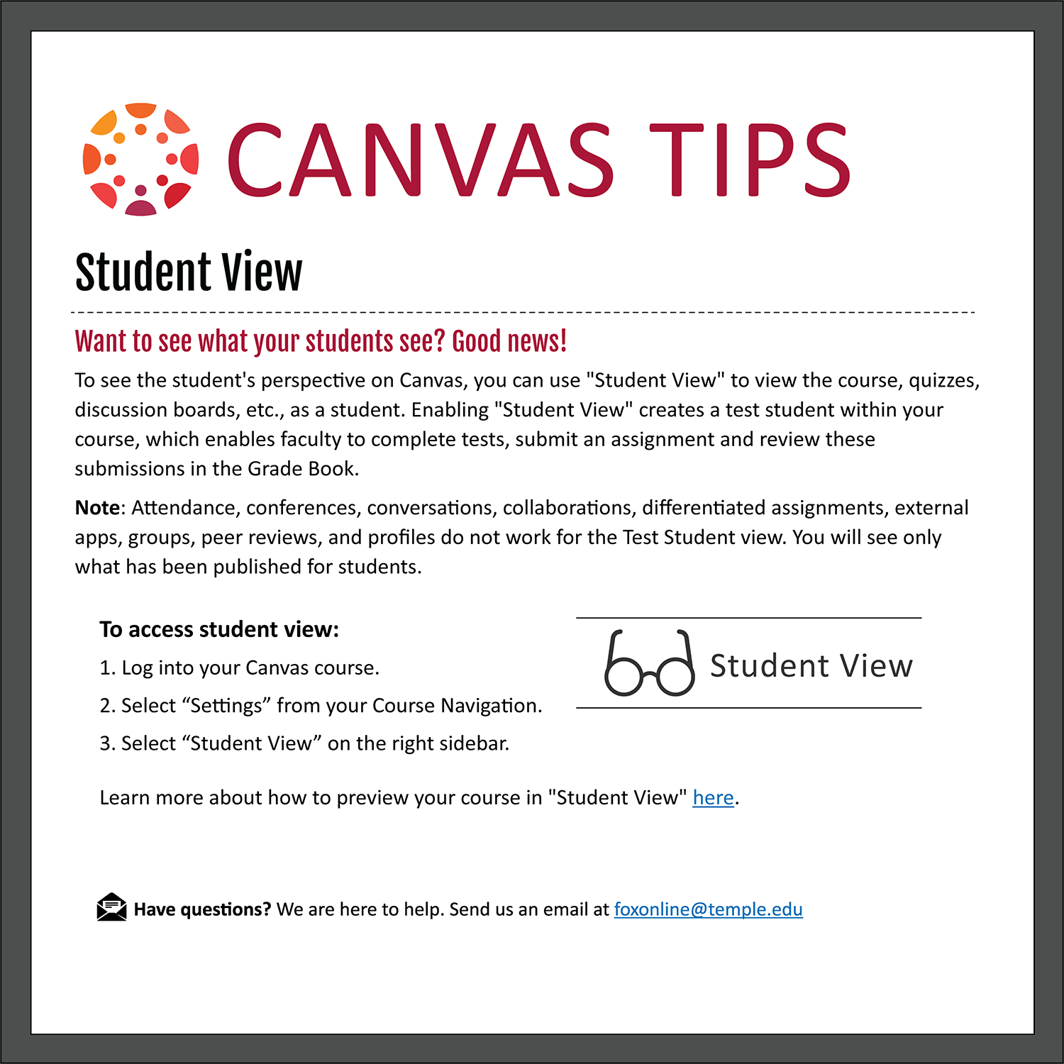 Tip 6: Student View