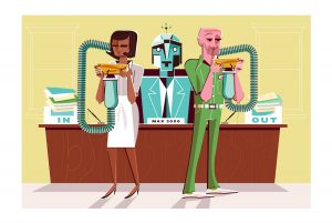 Illustration of robot boss providing information for workers