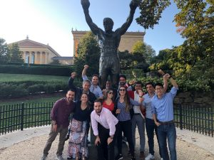 Students in front of Rock Statue