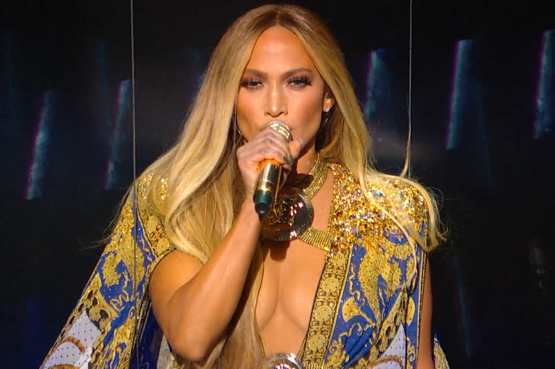 Jennifer Lopez pictured performing at VMAs.
