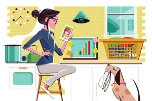 Illustration of woman working from home
